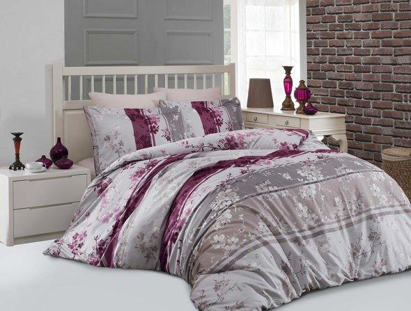 Комплект постельного белья Altinbasak CATELIN хлопковый сатин (розовый) евро, фото, фотография
