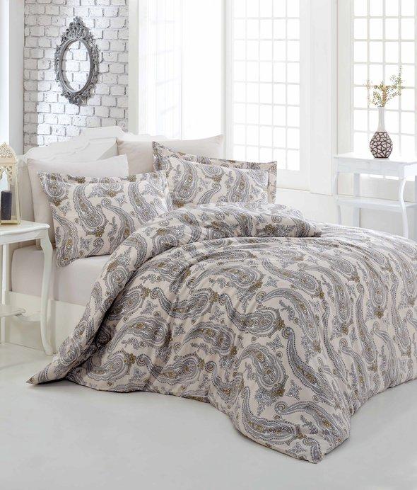 Комплект постельного белья Altinbasak TINA хлопковый сатин (бежевый) евро, фото, фотография