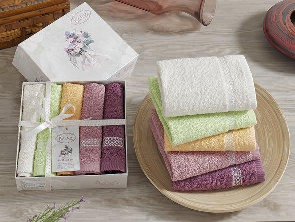Подарочный набор полотенец 30*30 5 шт. Karna KONFETTI хлопковая махра V1, фото, фотография