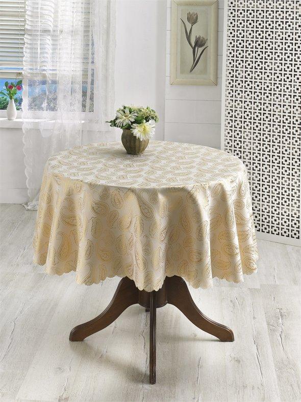 Скатерть круглая Karna SILVER (золотистый) D=160, фото, фотография