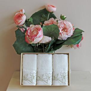 Набор полотенец для ванной в подарочной упаковке 32х50 3 шт. Soft Cotton VIOLA хлопковая махра золотой