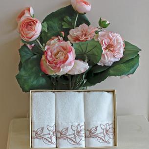 Набор полотенец для ванной в подарочной упаковке 32х50 3 шт. Soft Cotton VIOLA хлопковая махра бронзовый