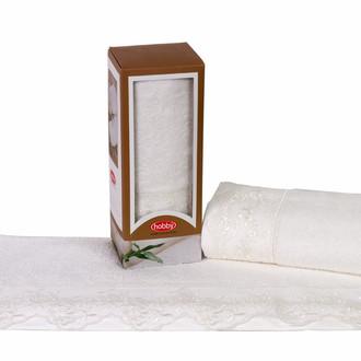 Полотенце для ванной в подарочной упаковке Hobby Home Collection ALMEDA бамбуковая/хлопковая махра кремовый