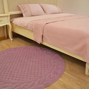 Коврик круглый Gelin Home ERGUVAN хлопковая махра тёмно-розовый D=120