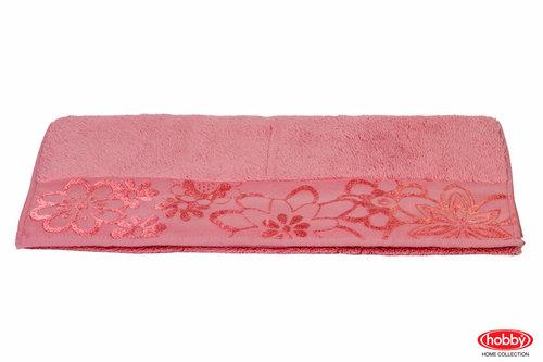 Полотенце для ванной Hobby Home Collection DORA хлопковая махра тёмно-розовый 50х90, фото, фотография