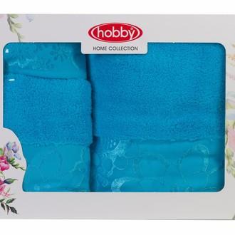 Подарочный набор полотенец для ванной 30*50, 50*90, 70*140 Hobby Home Collection DORA хлопковая махра (бирюзовый)