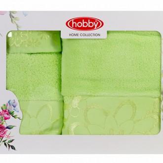 Подарочный набор полотенец для ванной 30*50, 50*90, 70*140 Hobby Home Collection DORA хлопковая махра (зелёный)