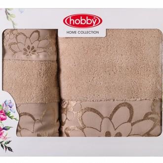 Подарочный набор полотенец для ванной 30*50, 50*90, 70*140 Hobby Home Collection DORA хлопковая махра (бежевый)