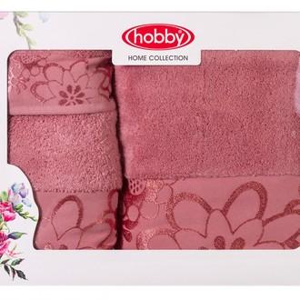 Подарочный набор полотенец для ванной 30*50, 50*90, 70*140 Hobby Home Collection DORA хлопковая махра (тёмно-розовый)