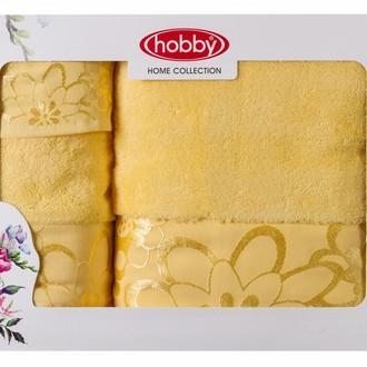 Подарочный набор полотенец для ванной 30*50, 50*90, 70*140 Hobby Home Collection DORA хлопковая махра (жёлтый)