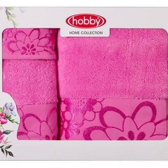 Подарочный набор полотенец для ванной 30*50, 50*90, 70*140 Hobby Home Collection DORA хлопковая махра (розовый)