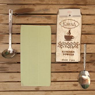 Набор кухонных полотенец Karna MEDLEY хлопковая вафля (зелёный)