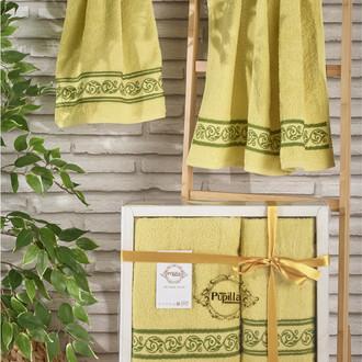 Подарочный набор полотенец для ванной 50*90, 70*140 Pupilla DREAM хлопковая махра (горчичный)