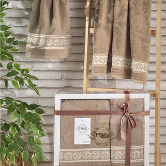 Подарочный набор полотенец для ванной 50*90, 70*140 Pupilla DREAM хлопковая махра (кофейный)