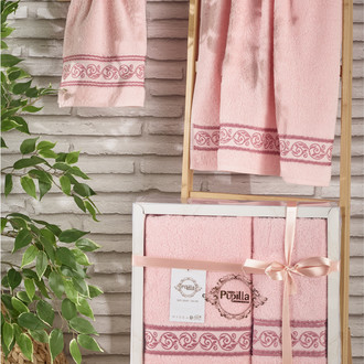 Подарочный набор полотенец для ванной 50*90, 70*140 Pupilla DREAM хлопковая махра (светло-розовый)