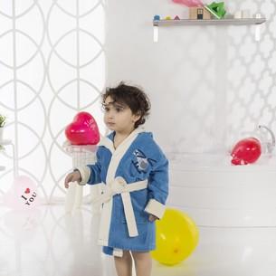 Халат детский Karna SNOP хлопковая махра саксен 6-7 лет