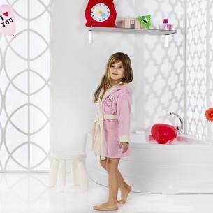 Халат детский Karna SNOP хлопковая махра розовый 2-3 года