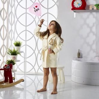 Халат детский Karna SNOP хлопковая махра (кремовый)
