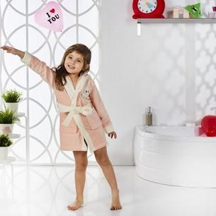 Халат детский Karna SNOP хлопковая махра абрикосовый 6-7 лет