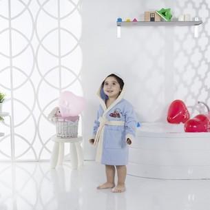 Халат детский Karna SNOP хлопковая махра голубой 6-7 лет