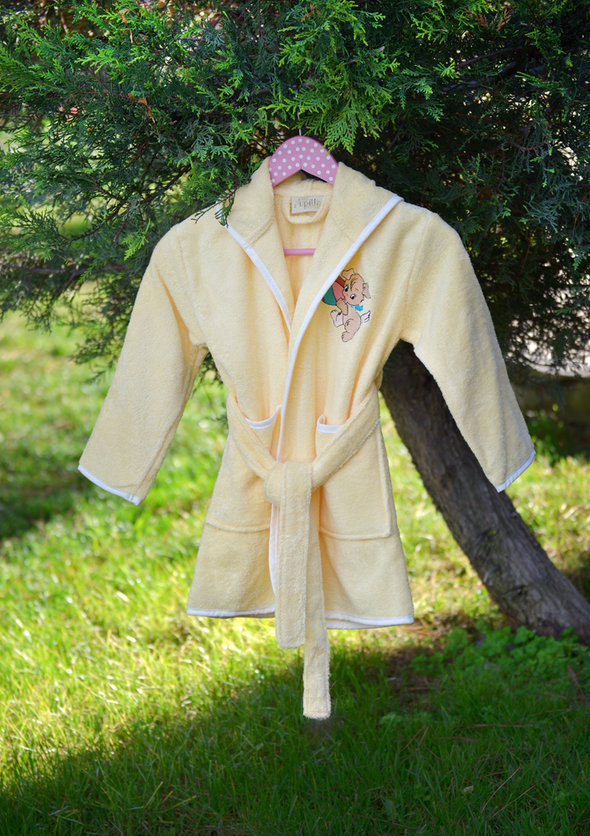 Халат детский Pupilla KIDS хлопковая махра (жёлтый) 3-5 лет, фото, фотография
