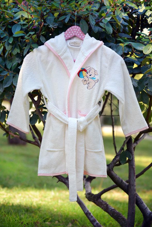 Халат детский Pupilla KIDS хлопковая махра (кремовый, девочка) 3-5 лет, фото, фотография