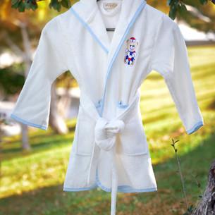 Халат детский Pupilla KIDS хлопковая махра кремовый, мальчик 3-5 лет