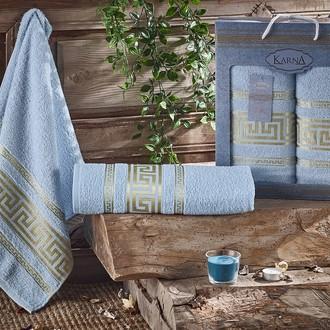 Набор полотенец для ванной 50*90, 70*140 Karna ITEKA хлопковая махра (светло-голубой)