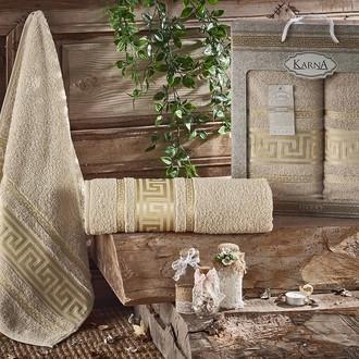 Набор полотенец для ванной 50*90, 70*140 Karna ITEKA хлопковая махра (бежевый)