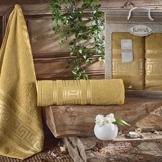 Набор полотенец для ванной 50*90, 70*140 Karna ITEKA хлопковая махра горчичный