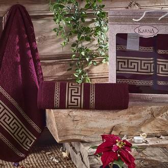 Набор полотенец для ванной 50*90, 70*140 Karna ITEKA хлопковая махра (бордовый)