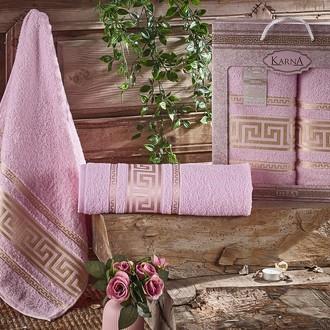 Набор полотенец для ванной 50*90, 70*140 Karna ITEKA хлопковая махра (светло-розовый)