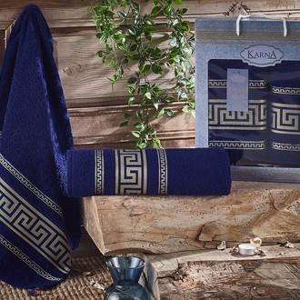 Набор полотенец для ванной 50*90, 70*140 Karna ITEKA хлопковая махра (синий)