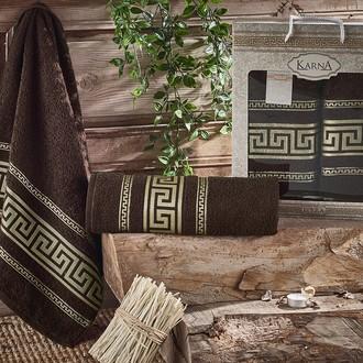 Набор полотенец для ванной 50*90, 70*140 Karna ITEKA хлопковая махра (коричневый)