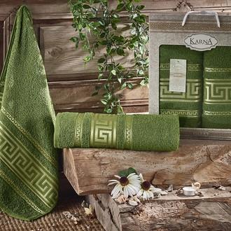 Набор полотенец для ванной 50*90, 70*140 Karna ITEKA хлопковая махра (тёмно-зелёный)