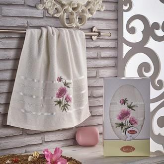 Полотенце для ванной в подарочной упаковке Karna ROZENYA хлопковая махра (кремовый)