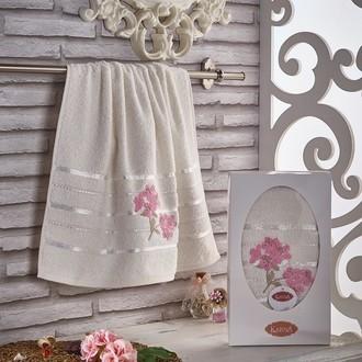 Полотенце для ванной в подарочной упаковке Karna SISLEY хлопковая махра (кремовый)