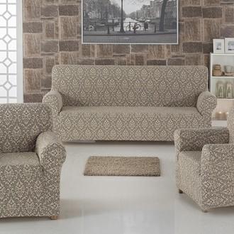 Набор чехлов на трёхместный диван и кресла 2 шт. Karna MILANO бежевый