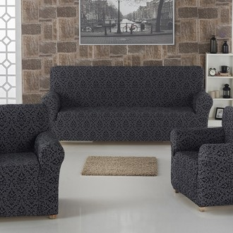 Набор чехлов на трёхместный диван и кресла 2 шт. Karna MILANO антрацит
