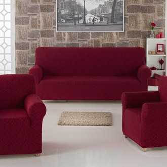 Набор чехлов на трёхместный диван и кресла 2 шт. Karna MILANO бордовый