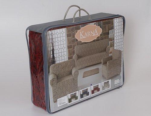 Набор чехлов на трёхместный диван и кресла 2 шт. Karna MILANO натурал, фото, фотография
