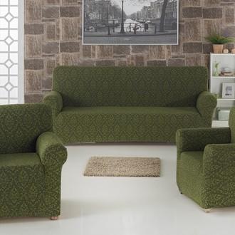Набор чехлов на трёхместный диван и кресла 2 шт. Karna MILANO зелёный