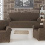 Набор чехлов на трёхместный диван и кресла 2 шт. Karna MILANO коричневый, фото, фотография