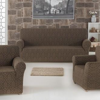 Набор чехлов на трёхместный диван и кресла (2 шт.) Karna MILANO (коричневый)
