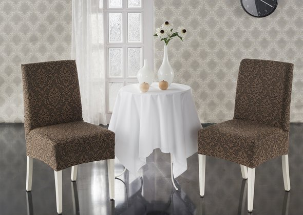 Набор чехлов на стулья (2 шт.) Karna MILANO (коричневый), фото, фотография
