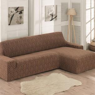 Чехол на угловой диван правосторонний Karna MILANO коричневый