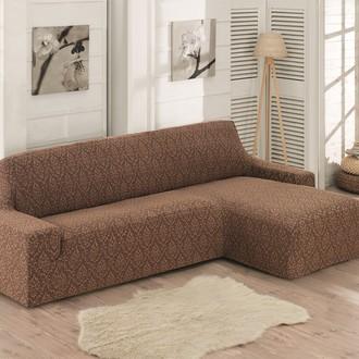 Чехол на угловой диван правосторонний Karna MILANO (коричневый)