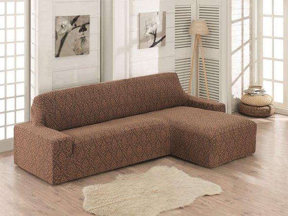 Чехол на угловой диван правосторонний Karna MILANO (коричневый), фото, фотография