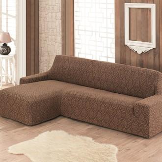 Чехол на угловой диван левосторонний Karna MILANO коричневый