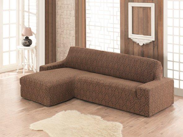 Чехол на угловой диван левосторонний Karna MILANO (коричневый), фото, фотография
